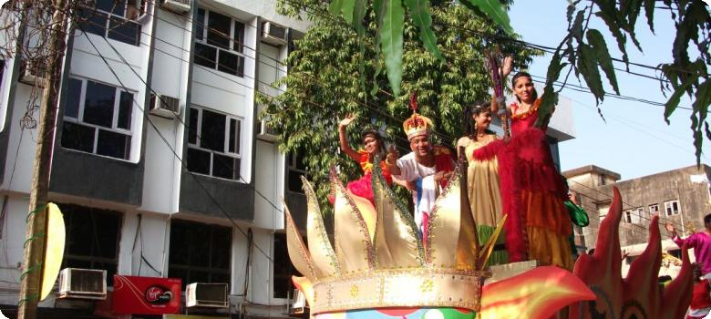 Goddess on her chariot, Goa carnival in Vasco da Gama