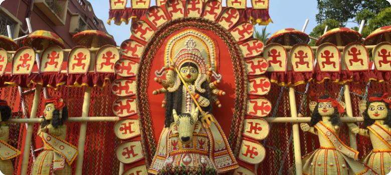 Bengali jute and bamboo strip folk art, Durga Puja 2015