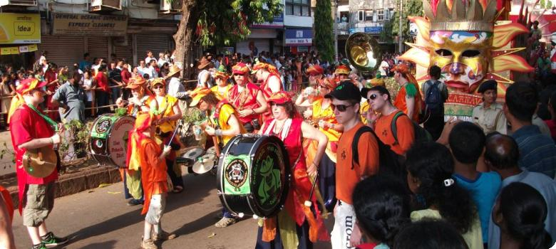 Goa street carnival with loud drumbeats and gorgeous colors
