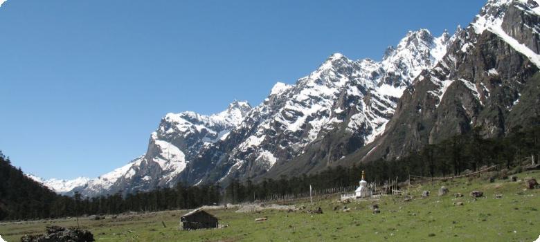 Far away Chorten in Yumthang valley