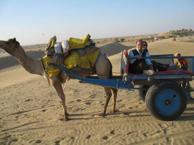 Entering the desert on a camel cart