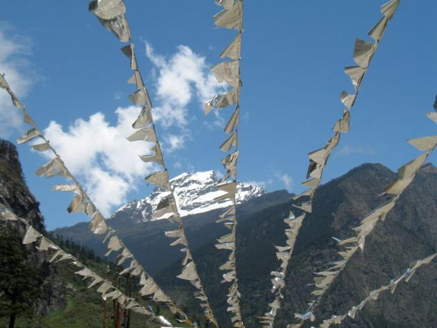 Snow covered mountain top Lachung, on way to Yumthang