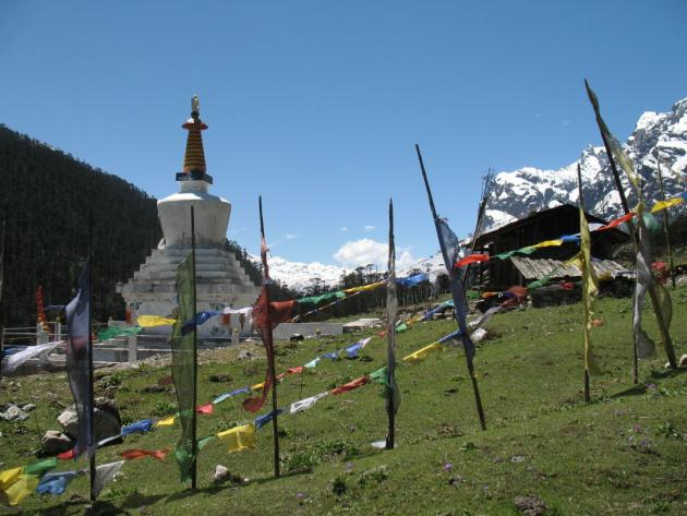 Yumthang Chorten looking towards South from where we came