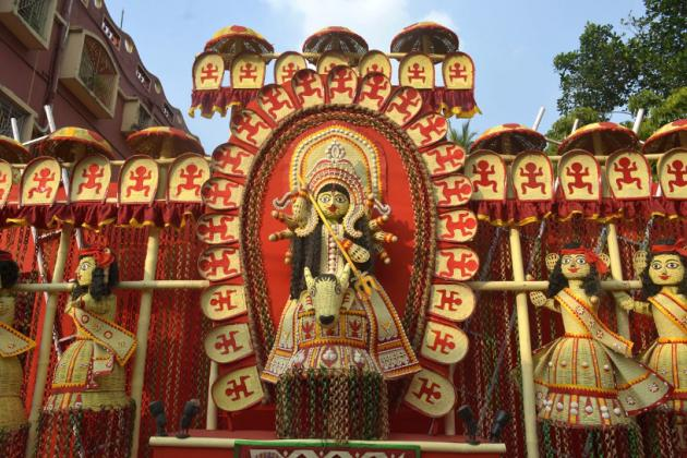 Courtyard walls adorned with Bengali jute and bamboo strip folk art, Durga Puja 2015