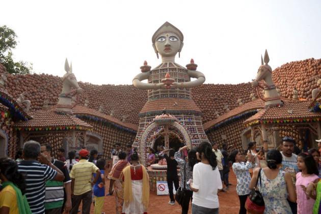 Tall figure rising above all, Kolkata Durga Puja 2015