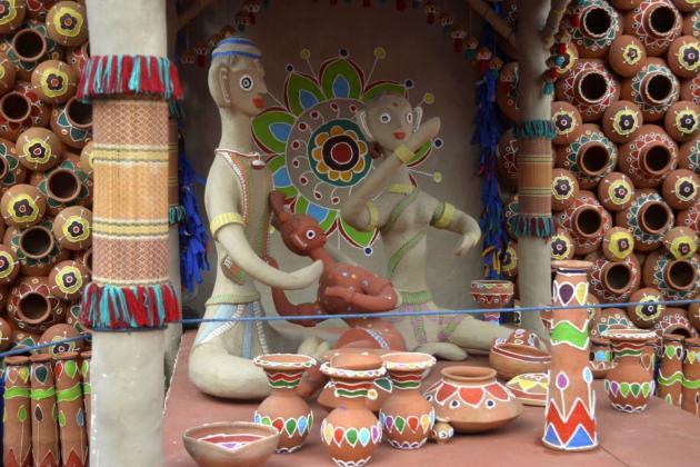 Lovely small family, folk art on clay, Kolkata Durga Puja 2015