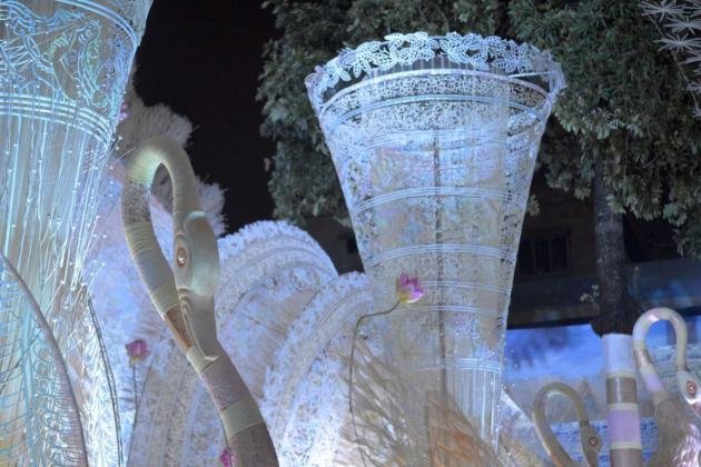 Rows of blue tinged large white swans, Kolkata Durga Puja 2015