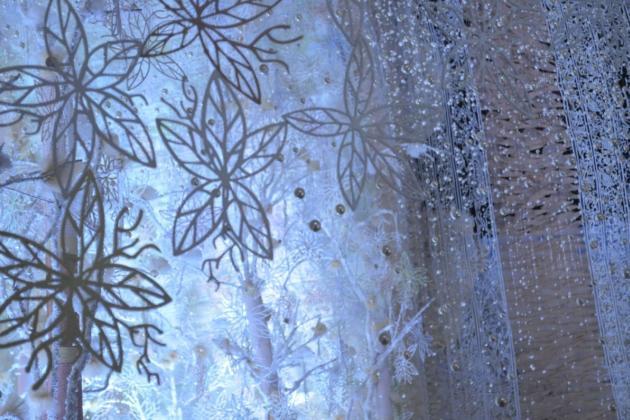 Delicate tapestry glowing blue white, Kolkata Durga Puja 2015