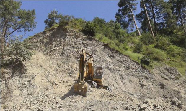 Destruction of mountainside by road widening